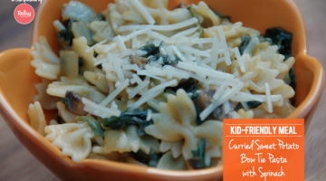 Kid-Friendly Meals: Curried Sweet Potato Bowtie Pasta with Spinach - (cool) progeny, #dinner #vegetarian #familymeals