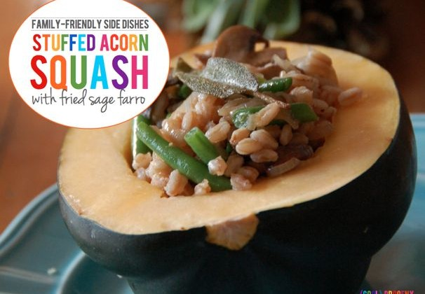 Family Friendly Sides: Stuffed Acorn Squash with Fried Sage Farro - (cool) progenyFamily Friendly Sides: Creamy Raw Kale Salad - (cool) progeny