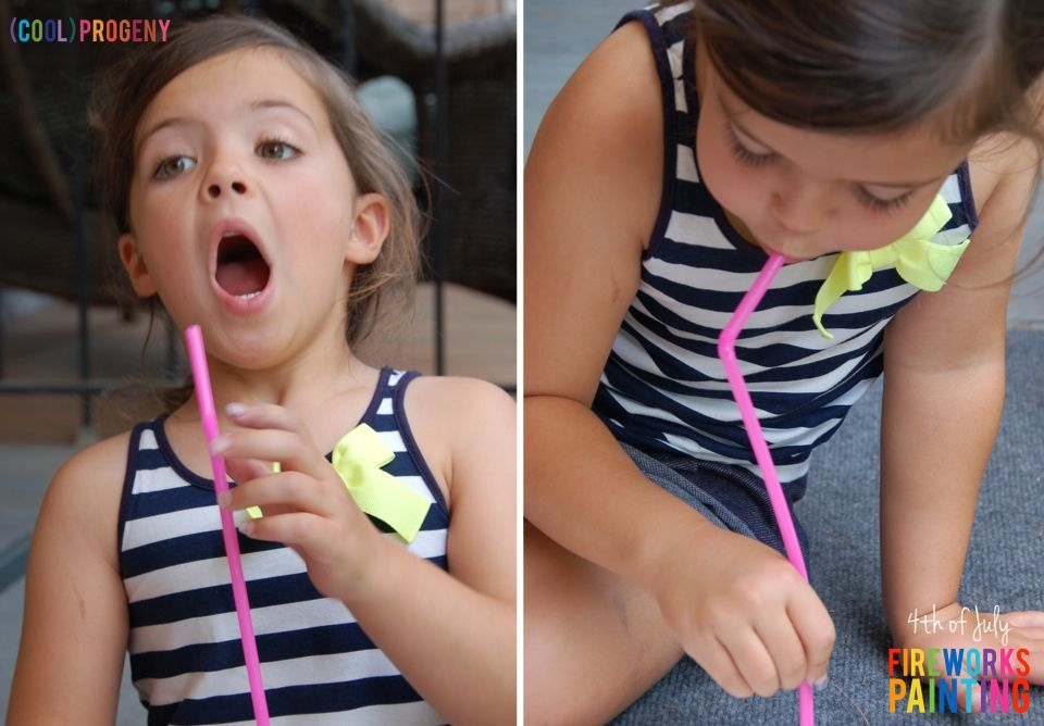 Fourth of July Kid Craft: Fireworks Straw Painting - (cool) progeny