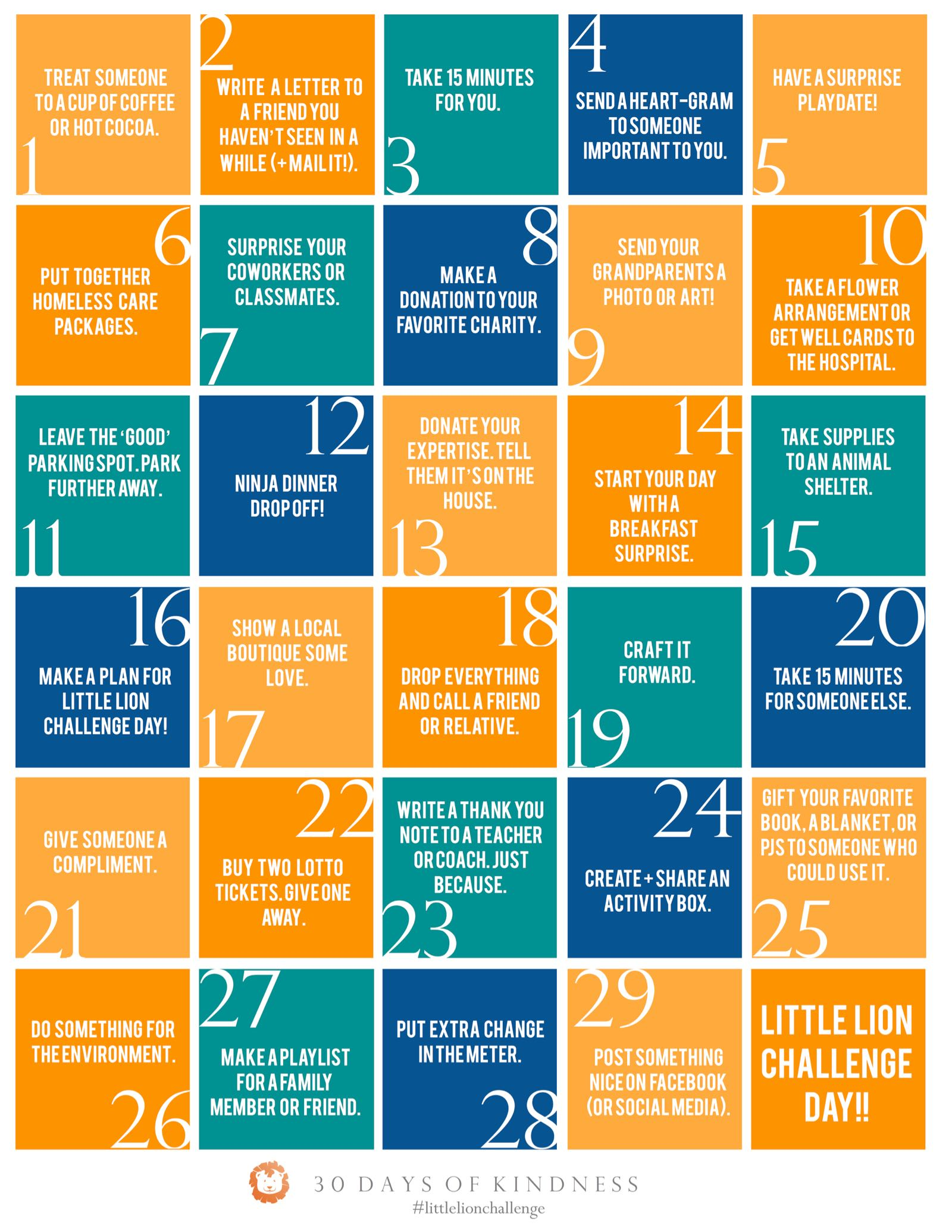 30 Days of Kindness Calendar - #LittleLionChallenge - (cool) progeny