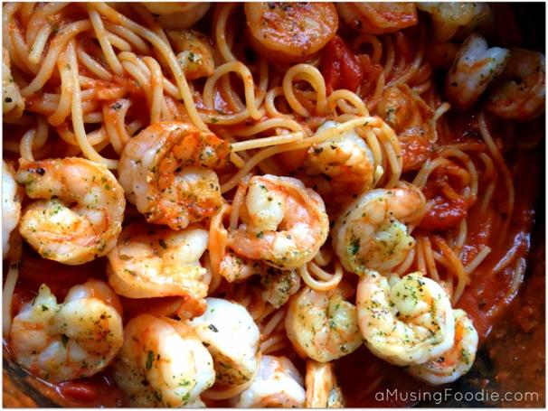 Easy Weeknight Meals - Seared Shrimp Spaghetti Marinara, (cool) progeny