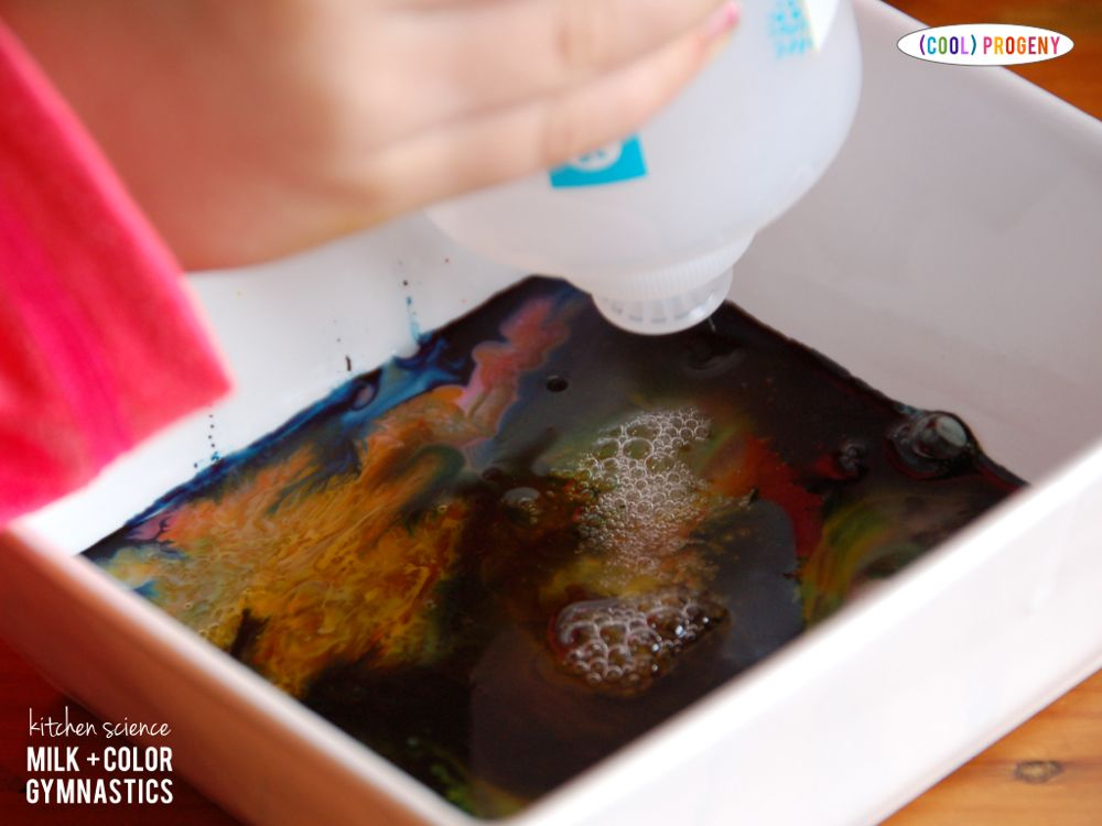 kitchen science: milk + color gymnastics experiment - (cool) progney