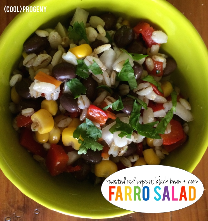 Roasted Red Pepper, Black Bean + Corn Farro Salad - (cool) progeny