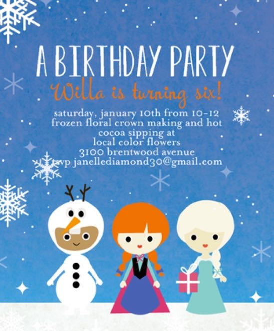 Frozen Floral Crown Birthday Party at Local Color Flowers - (cool) progeny