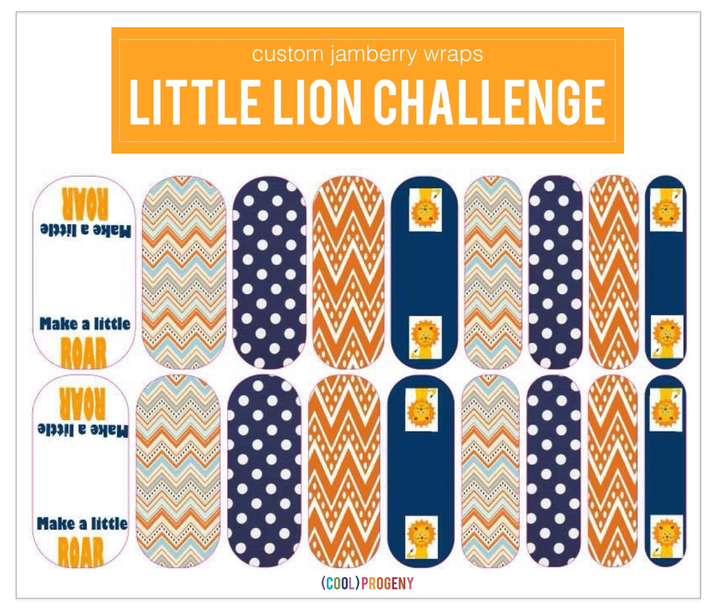Custom LIttle Lion Challenge Nail Wraps from Jamberry -- (cool) progeny #littlelionchallenge #dothejamthing