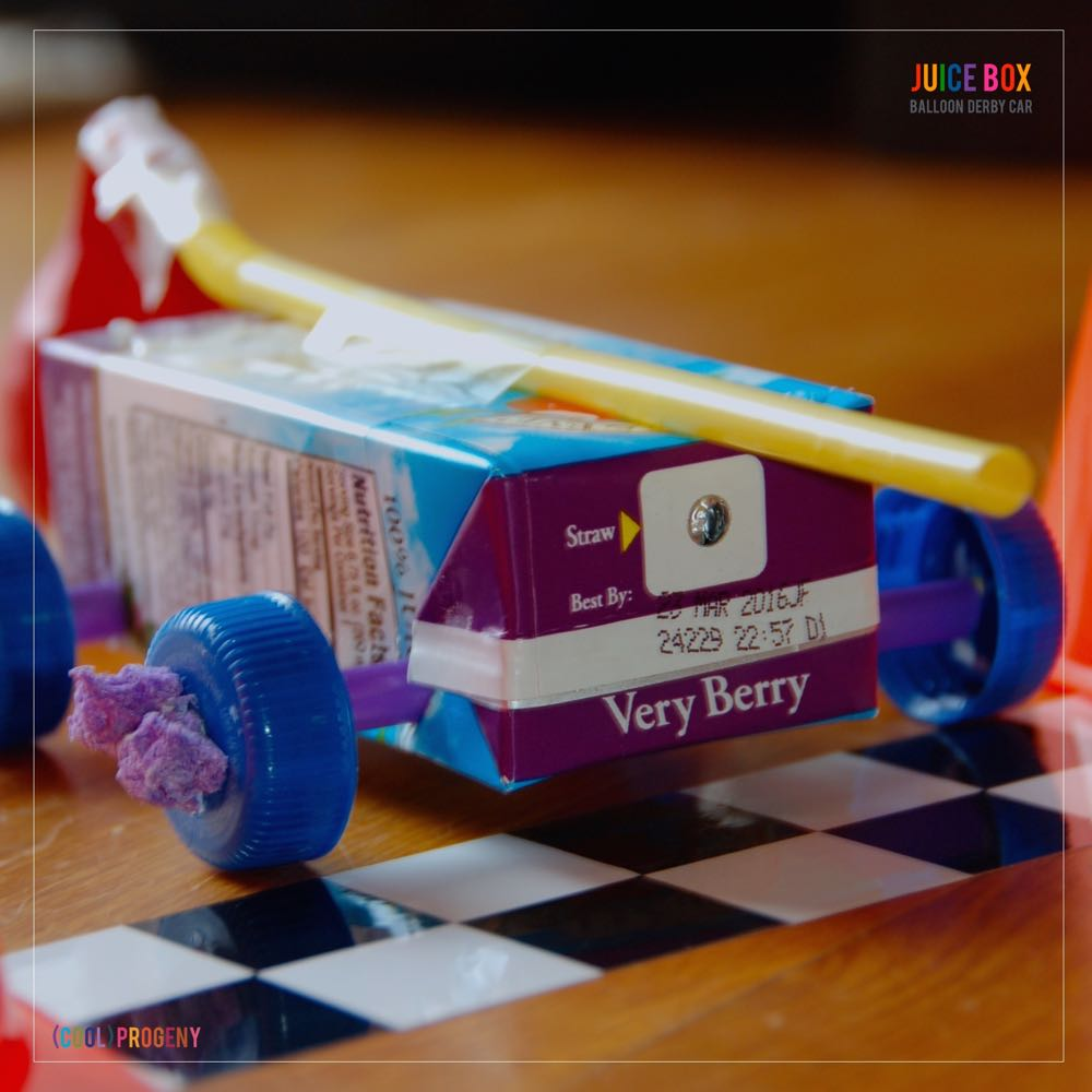 make a juice box balloon derby car! - (cool) progeny