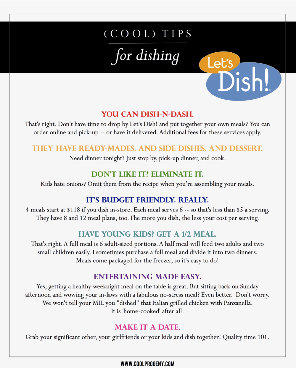 (cool) tips: dishing with let's dish! - (cool) progeny