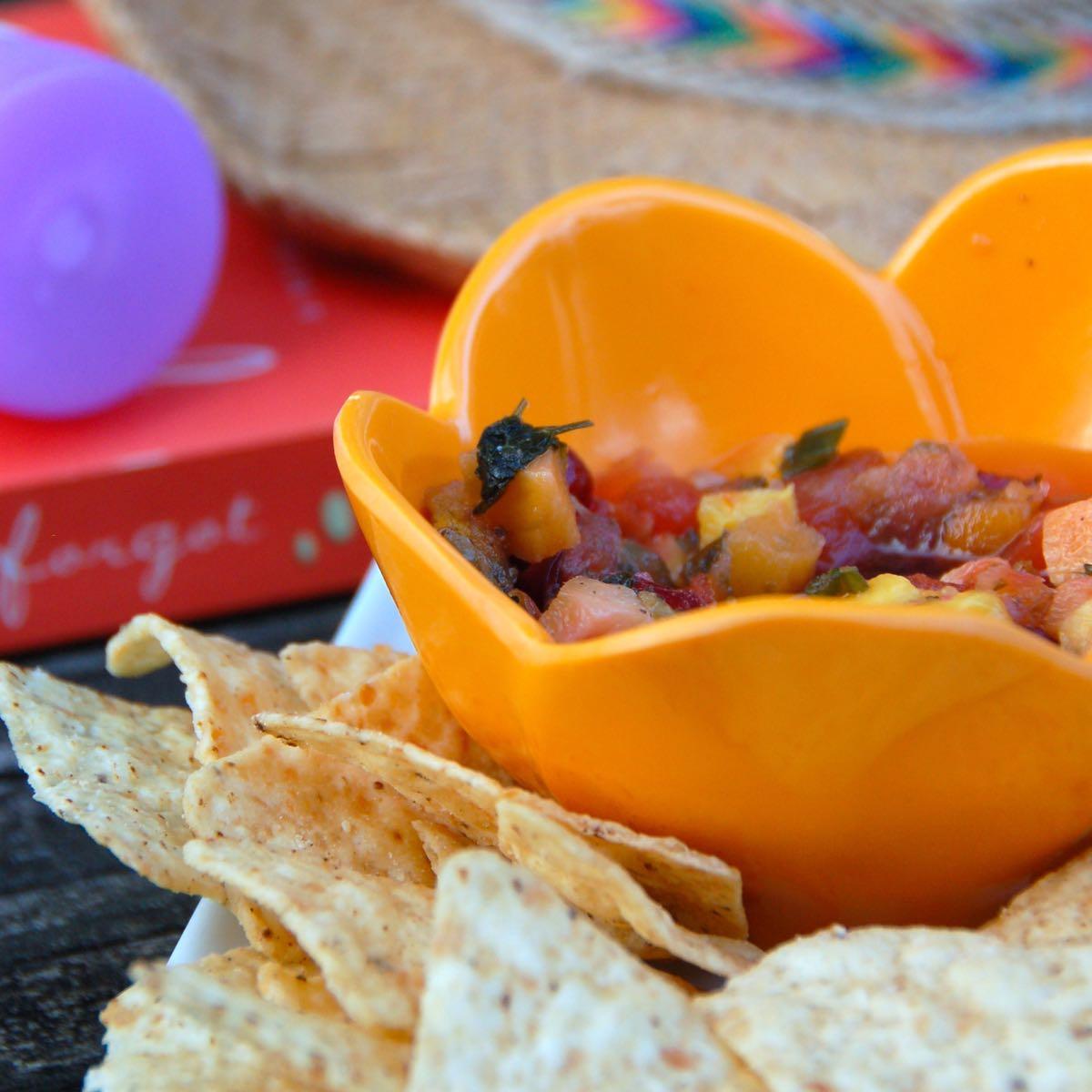 pool-side snack: let's dish cranberry mango salsa