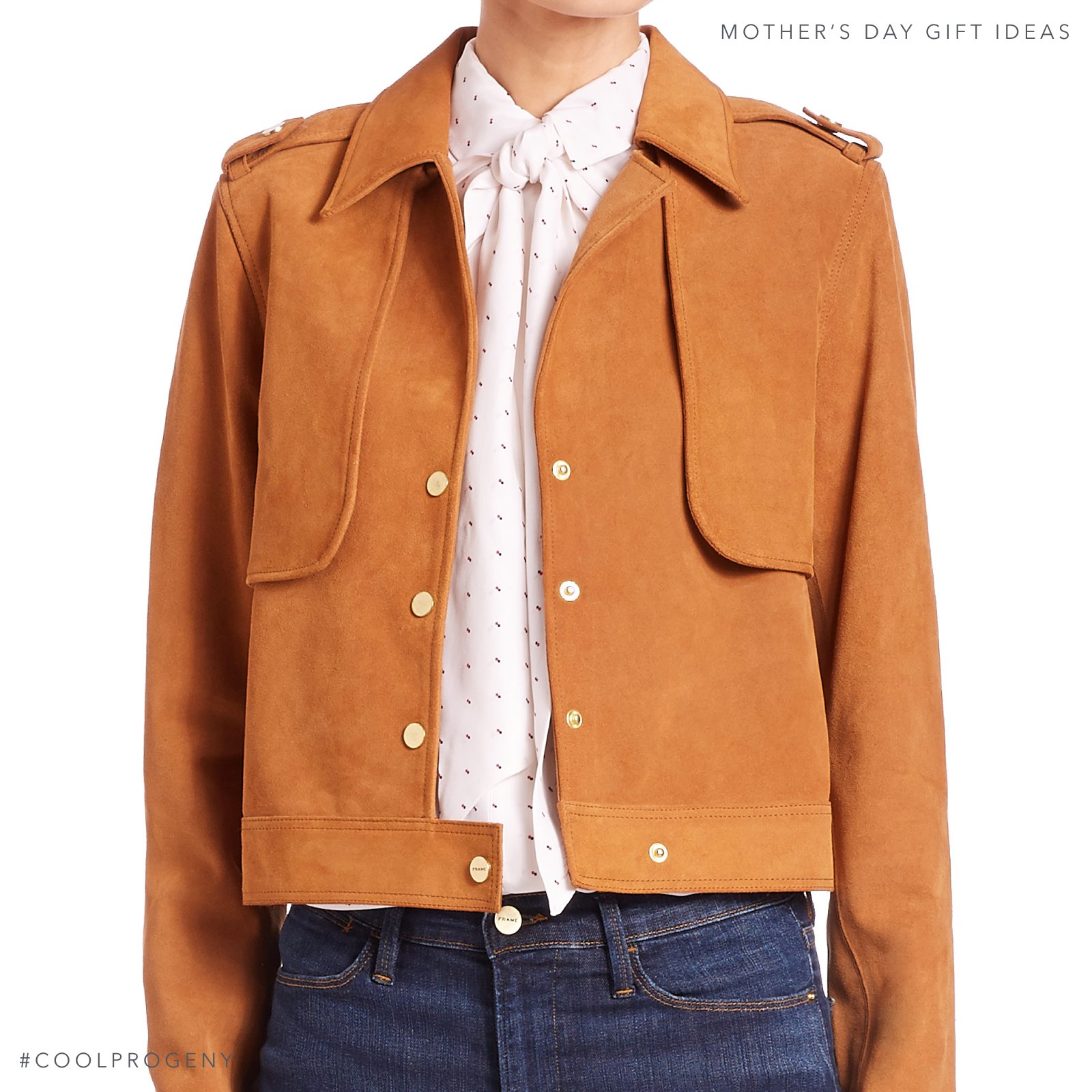Mother's Day Gift Idea - (cool) progeny - Frame cropped suede jacket, available from Ruth Shaw