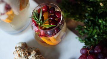 Blue Cheese, Grape and Walnut Spheres with Christmas Sangria - (cool) progeny