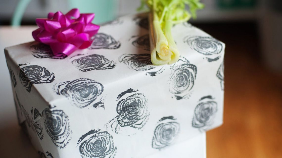 Fruit + Veggie Stamped Wrapping Paper - (cool) progeny