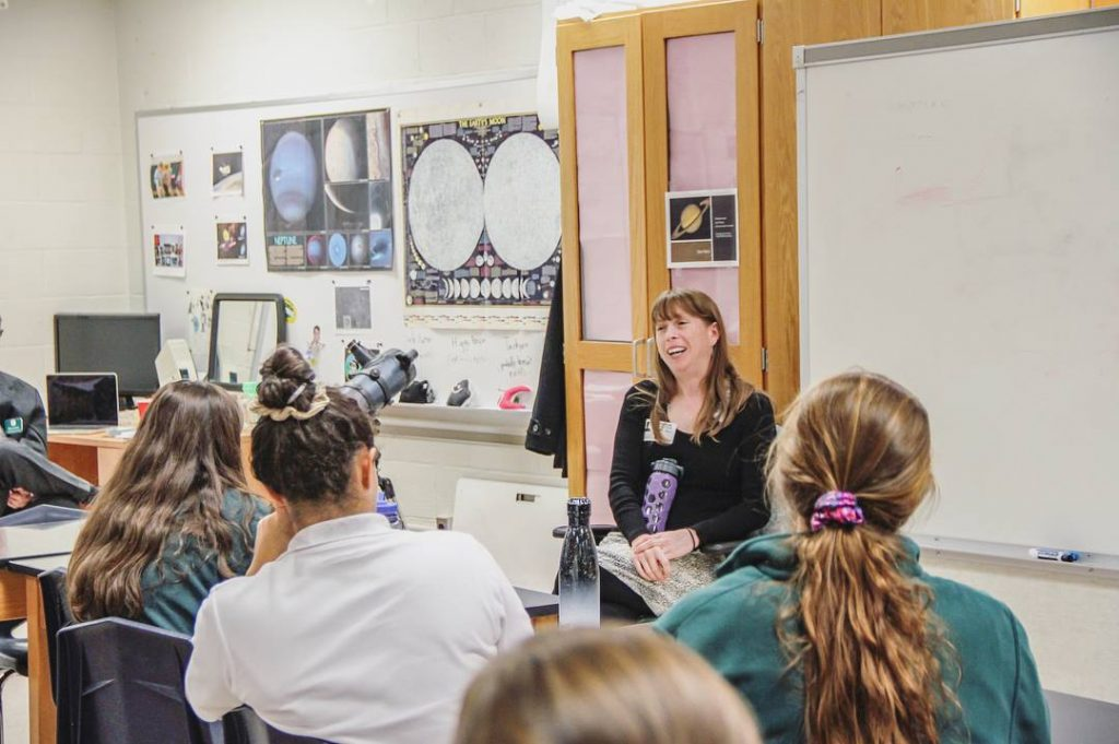 St. Paul's School for Girls welcome Darcy Phelan-Emrick, DrPH, MHS to campus as their first Fambrough Science Speaker of the year. Photo courtesy of SPSG Facebook page.
