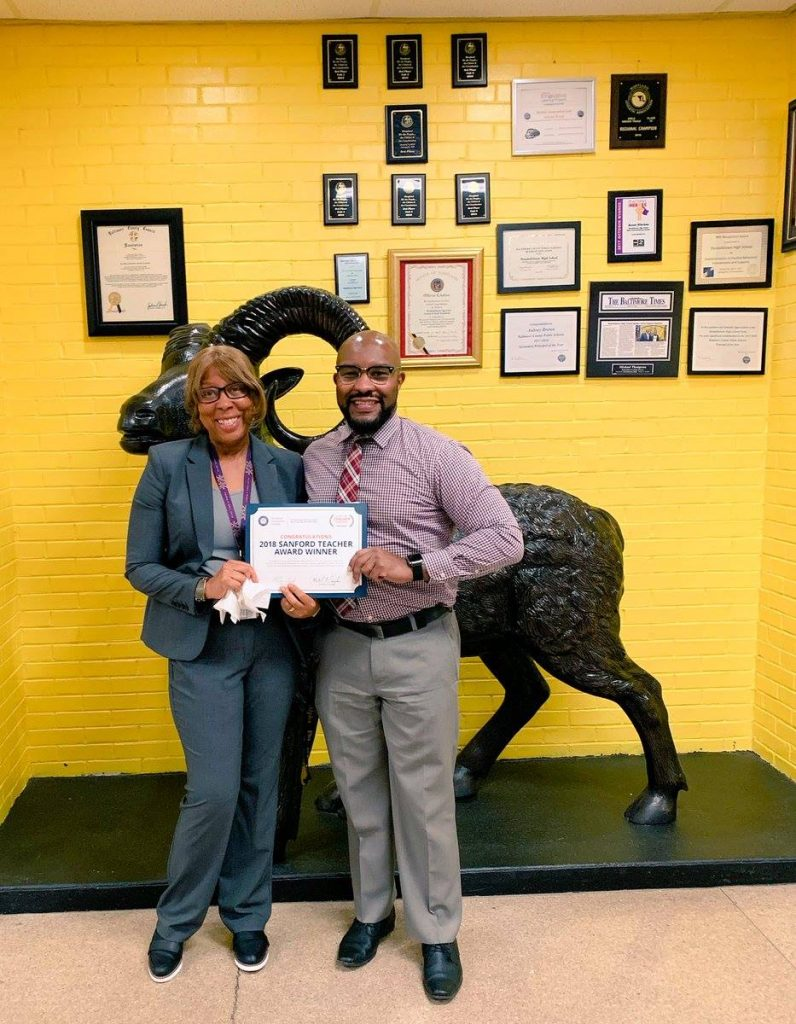 Congratulations to Randallstown High teacher Susan Ellerbee for being named the 2018 National University System - Sanford Teacher Award winner for Maryland. Photo from Baltimore County Public Schools Facebook Page.