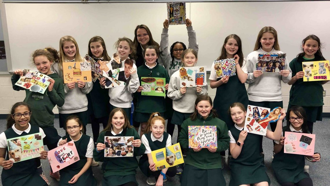 St. Paul's School for Girls Student Jordan Sweeney works on developing confidence among Middle School girls. She is teaching classes to SPSG 5th graders as part of her SPIRITUS project.